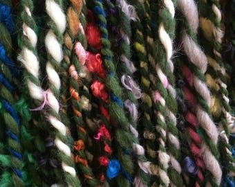Runnin' Down a Dream, wild art yarn, 42 yards, multicolored textured art yarn, handspun, bulky wild yarn, JUMBO yarn