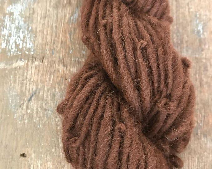 Natural auburn alpaca handspun yarn, undyed handspun yarn, 38 yards, super soft single ply yarn, great for weaving, knitting, doll hair