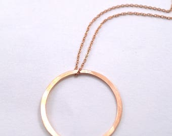 Small Rose Gold Fill Circle necklace, circle necklace, small circle pendant, organic circle necklace, hammered circle necklace, rose gold