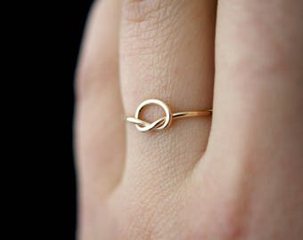 SOLID 14K Gold Large Open Knot ring, gold infinity ring, 14k gold knot ring, hammered gold ring, 14k gold love knot ring, knot ring