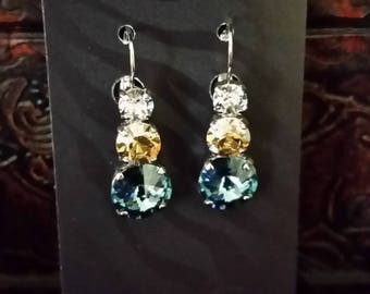 Rhodium Plated Clear, Blue and Gold Swarovski Crystal Leverback Earrings Pitt Panther Colors