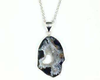 ON SALE Sparkly Druzy Pendant Necklace, Large Agate Slice Pendant