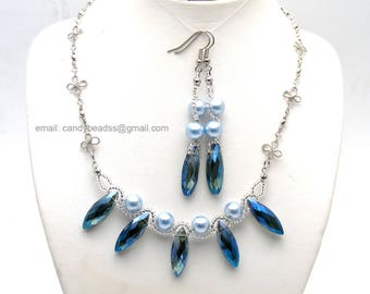 Blue pearl necklace;Blue pearl;Beaded necklace; Swarovski necklace;Crystal necklace;Swarovski beads; glass beads