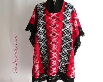 Vintage Plaid CAPE Coat / One Size small medium large / Fringed Hemline Bohemian Mexico 80s / Red Black White Sweater Knit Poncho Winter