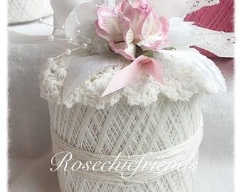 White/Pink Crochet Spool Thread PUMPKIN Shabby Chic Roses ECS SVFTeam