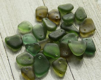 Olive green sea glass beads- Drilled sea glass - Frosted glass pendants - Beach glass - Glass Pendant - Bohemian Glass bead - Glasswork