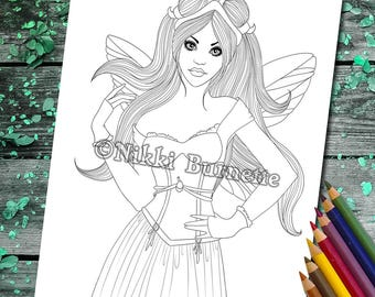 Coloring Page - Digital Stamp - Printable - Fantasy Art - Fairy - Woman - Cute - Stamp - Adult Coloring Page - LANAI - by Nikki Burnette
