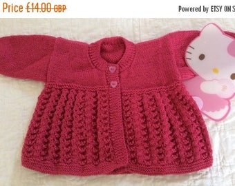 SUMMER SALE Hand Knitted Matinee Coat to fit 3 - 6 Month Baby