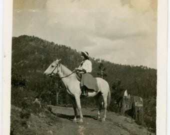 vintage photo 1911 Young Lady Western Hoseback Rider Up in Mountains snapshot