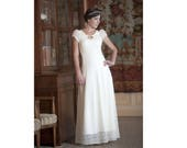 Long wedding dress, white lace dress with lace-up at back and short sleeves, Malam, wedding gown, Long white dress
