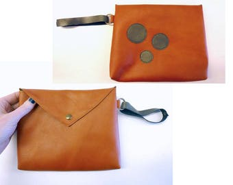 "Orange leather pouch, handheld leather pouch with bronze circles, Orange and bronze purse, Orange leather purse, MALAM, 9x7"" - 22x17"