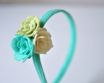 Felt Flower Headband - White Blue and Teal Headband - Girl's Headband - Accessories for Kids