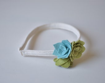 Felt Flower Headband - White Blue and Green Headband - Girl's Headband - Accessories for Kids