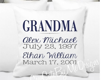 Personalized Grandkids Pillow, Grandma Pillow, Grandpa Pillow, Grandkids Gift, Nana - Navy and Gray