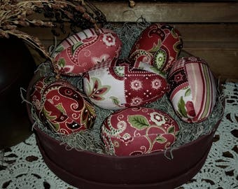 Country Farmhouse Jumbo Fabric  Paisley Patchwork Print Easter Eggs