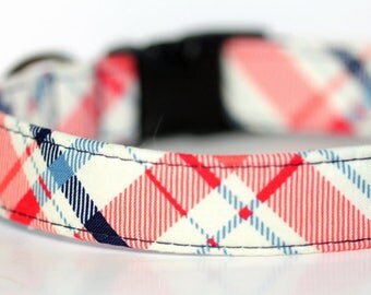 Plaid Tartan Dog Collar, Personalized Collar opiton, Engraved Collar available,  Funday Tartan, Personalization Available