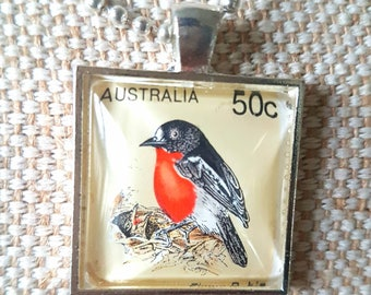 Robin bird stamp 50c value necklace / upcycled Australian stamp pendant / silver plated with 24 inch chain / bird necklace philately jewelry