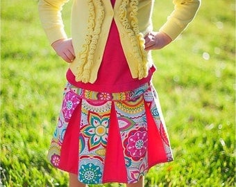 SALE PDF Sewing Pattern - Pleated Skirt with piping detail - Sizes 6 -12 months to 14 tween