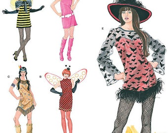 Simplicity 2324 Sewing pattern, misses costumes, dresses, witch, modgirl, indian,  bumblebee pattern, sizes 6-24, xs-xl