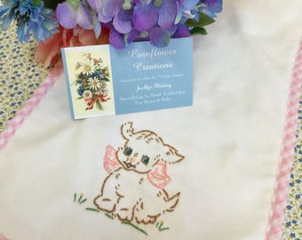 Baby Girl Puppy - Hand Embroidered Burp Cloth by Cornflower Creations