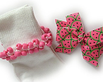 Kathy's Beaded Socks - Hot Pink Watermelon Socks and Hairbow, girls socks, pony bead socks, hot pink socks, watermelon socks, green socks