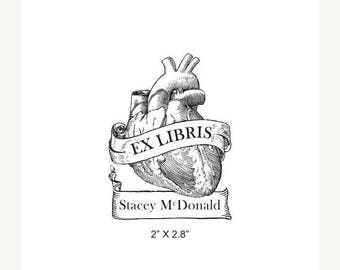 Super Summer Sale Anatomical Heart Antique Banner Ex Libris Bookplate Rubber Stamp K11