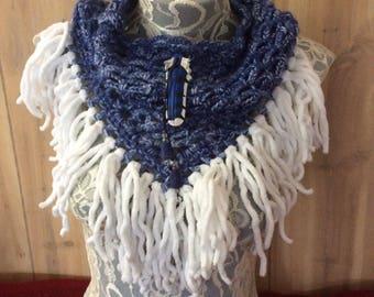 Denim Blue Jay cowl... knit crocheted fringed yarn soft scarf leather tie bohemian boho