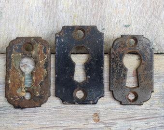 3 Vintage Keyhole Escutcheons Hardware