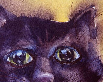Oh Oh Kitty ACEO Original Watercolor Painting, Black Cat Art Miniature, Full of Mischief, Cute Kitty Face, Cat Ready to Pounce, Big Eyes