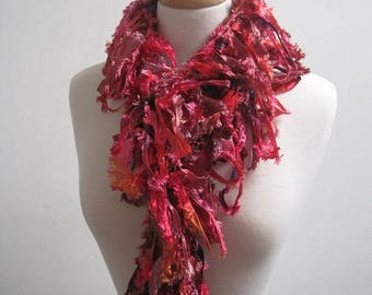 """EARLY FALL SALE red orange boa, red orange scarf, hand painted scarf, ribbon scarf, ribbon boa, spring scarf, mother's day gift """"delectable"""""""