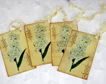Antiqued Garden Flower Gift Tags Hand Stamped