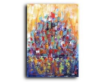 XL Abstract Original Painting Colorful Art Contemporary Modern Art Conceptual Fluid Acrylic Canvas Wall Art Elena