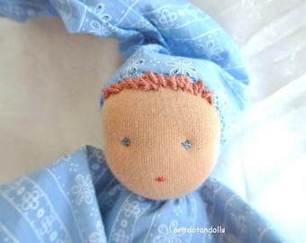 """Waldorf doll for babies 12inch \ 30cm, natural materials, Waldorf education -בובה לתינוקות ע""""פ חינוך וולדורף"""