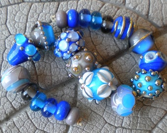 Blue Turquoise Gray Lampwork Beads by Cherie Sra R114 Flameworked Glass Bead Lapis Turquoise Gray Lampwork Bead Double Helix Silver Glass