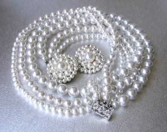 Vintage 3 Strand Pearl Beaded Necklace Rhinestone Clasp Clip Earrings Mixed Married Set Silk White Wedding Bridal Costume Jewelry Pearls