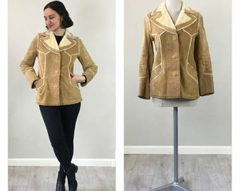 Vintage 70s Tan suede Lambskin Jacket  SMALL