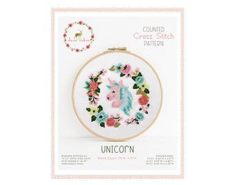 Counted Cross Stitch Pattern - Unicorn / cross stitch, diy, how-to, embroidery, pattern, gift, supply, instruction, baby, nursery, cute