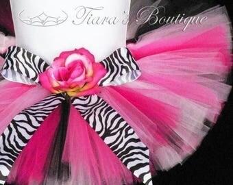 "SUMMER SALE 20% OFF Birthday Tutu Set - Zebra Tutu and Flower Headband Set - 6"" Sewn Girls Tutu Skirt - Posh Punk - Photo Prop for Baby Todd"