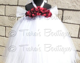 """SUMMER SALE 20% OFF Tutu Dress - Cranberry Rose - Custom Sewn Tutu Dress - up to 20"""" long - sizes newborn up to 24 months - Perfect for wedd"""