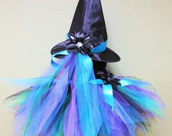 "SUMMER SALE 20% OFF Tutu Witch Costume - Meadow, the Peacock Witch - Custom Sewn 13"" Pixie Tutu & Witch Hat - sizes up to 5T - perfect for H"
