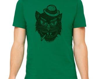 Smoking Cat Hand Carved   Woodblock Printed T Shirt