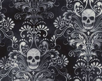 Timeless Treasures, Skull Damask, Wicked on Charcoal, 1 yard