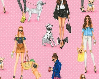 """From Robert Kaufman, """"C'est Chic"""" in pink by Rongrong  DeVoe, french girls walking dogs, yard"""
