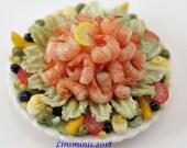 12th Scale handmade dollhouse miniature King Prawn Salad