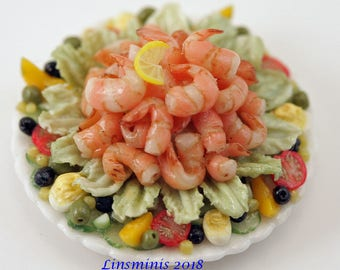12th Scale handmade dollhouse miniature King Prawn Salad