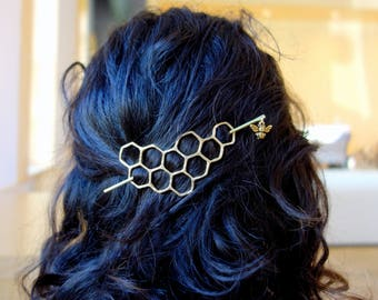 Hair Ware // XL Honeycomb Brass Handmade Hair Bun Slide Pin