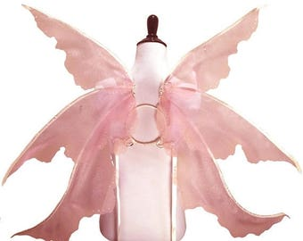 Christmas in July SALE Emmaline No. 4 - Large Organza Fairy Wings in Pink and Ivory - Strapless Convertable