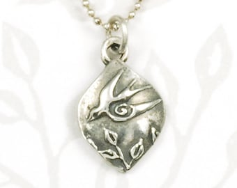 Swallow Necklace - Tiny Sterling Silver Flying Bird Necklace