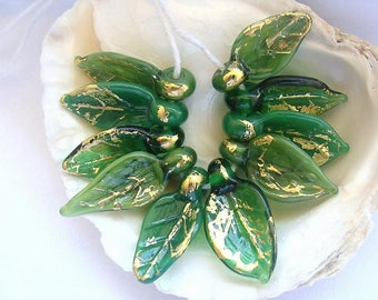 10 Golden Green Leaf Beads Handmade Lampwork