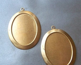 SALE 20% Off Oval 40X30mm Brass Portrait Settings 2 Pcs